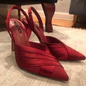 Zara Red Satin Slingback Heels